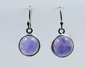 Amethyst drops 12mm Sterling Silver drop earrings