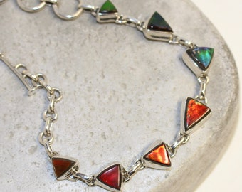 Ammolite sterling silver handmade bracelet adjustable