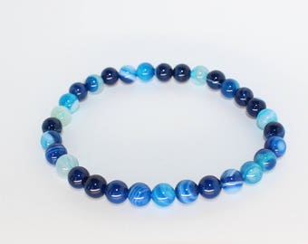 Agate Crystal Blue 6mm round ball bracelet