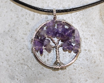 Tree of life gemstone necklace, rose quartz, amethyst, citrine, adventurine, opalite