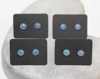 6mm opal stud on stainless steel post