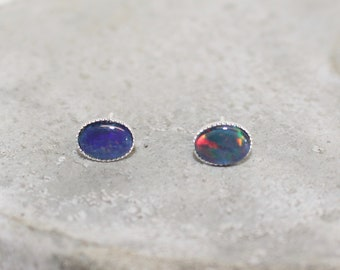 Australian Opal sterling silver opal earrings 8x6mm