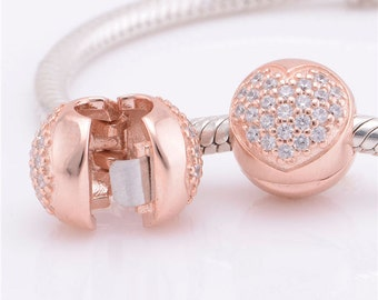 d8be53aba Fits Pandora, Bracelet Charms, Clips, / Metalic Rose Gold Safety Clip---  Gold Clip Charm LOVE oF My Life Heart / Cz