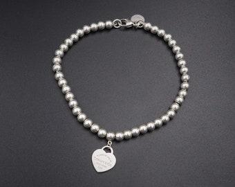 11ca29277 VINTAGE / Tiffany / Bracelets / Sterling Silver Mini Heart Tag Ball Bead  Bracelet Sizes (Various) / Prev. worn / Ex. Cond. like new.