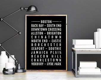 Beautiful Boston Print   Neighborhoods   Subway Poster, Boyfriend Gift, Husband Gift, Wall  Art, Train Scroll, Bus Scroll, Word Art, Typography