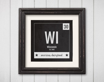 Wisconsin Print - Periodic Table Wisconsin Home Wall Art - Vintage Wisconsin Décor - Black and White - State Art Poster, Baby Nursery Gift