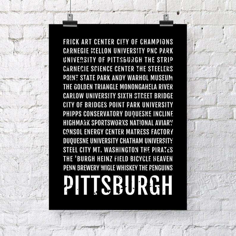 Gift Minimal D\u00e9cor Pennsylvania Wall Art Pittsburgh Subway Sign Poster Typography Canvas Custom Pittsburgh Print Bus Scroll