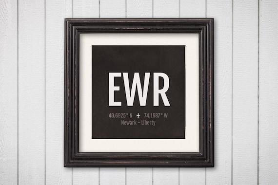 Newark Airport Code Print Ewr Aviation Art New Jersey Etsy