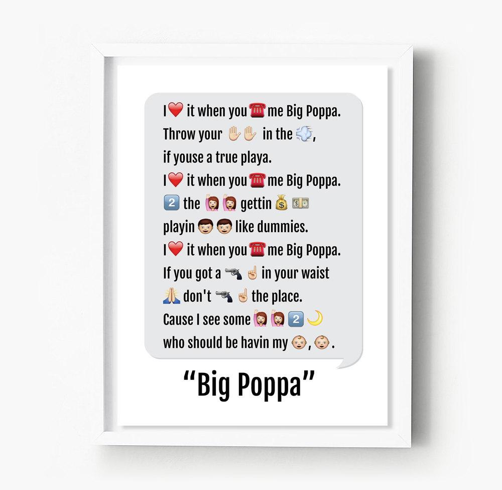 Notorious Big Print Emoji Art Big Poppa Rap Lyrics Hip Hop Etsy