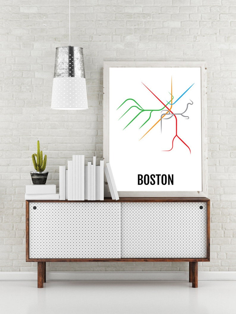 Boston Subway Map Poster.Boston Subway Map Print Boston T Transit Map Poster Boyfriend Gift Husband Gift Wall Art Art Boston Gift Boston Lovers Dad Gift