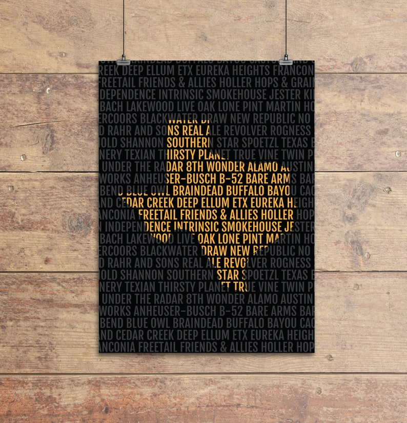 Map Of Texas Breweries.Texas Beer Map Texas Breweries Print Houston Home Bar Poster Dallas Man Cave Beer Lover Gift Home Brewing Austin Craft Brewer