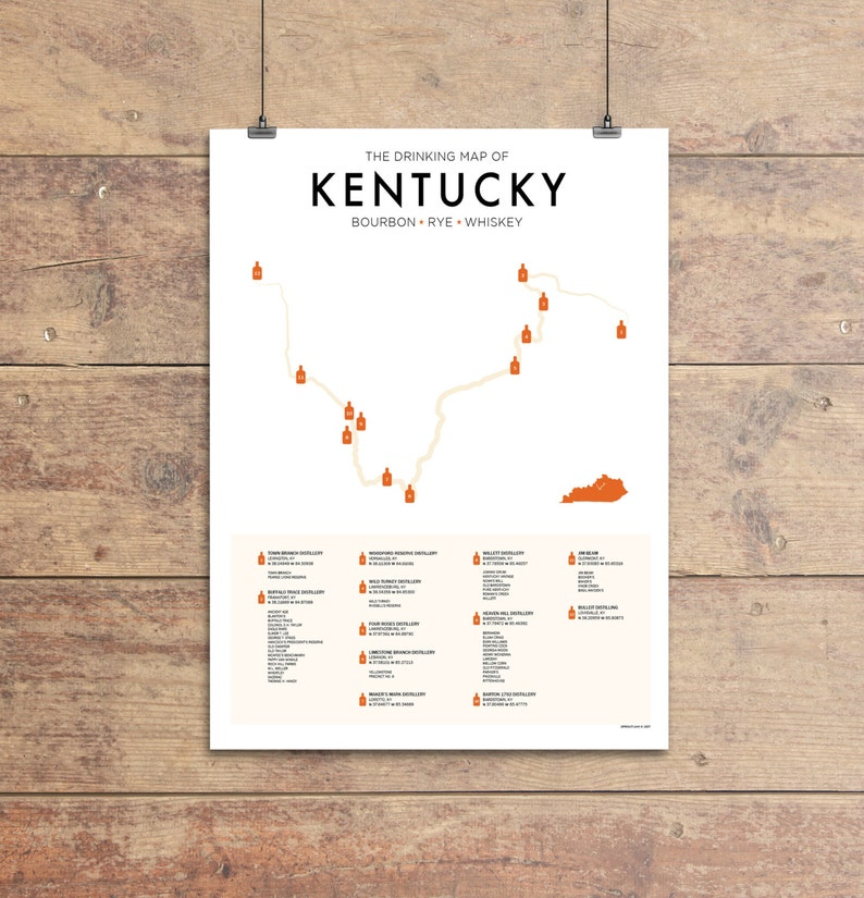 Kentucky Bourbon Trail Map Print Bourbon Lover Gift Whiskey Etsy