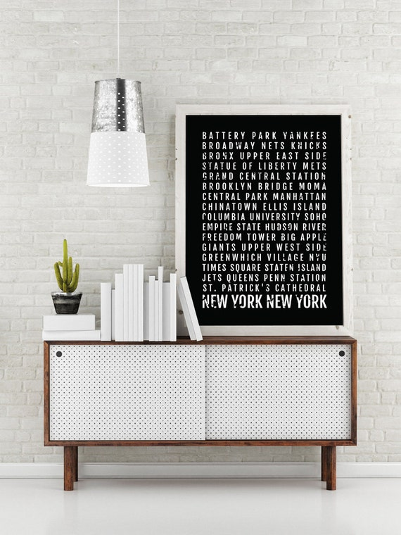 New York City Print New York City Subway Sign Poster Nyc Wall Art Decor Canvas Word Map Gift Bus Scroll Typography Minimal Custom