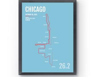 Chicago Marathon Print - 2021 Chicago Personalized Poster, Marathon Map, Chicago Runner Gift, Running Art, Gifts for Runners, 26.2