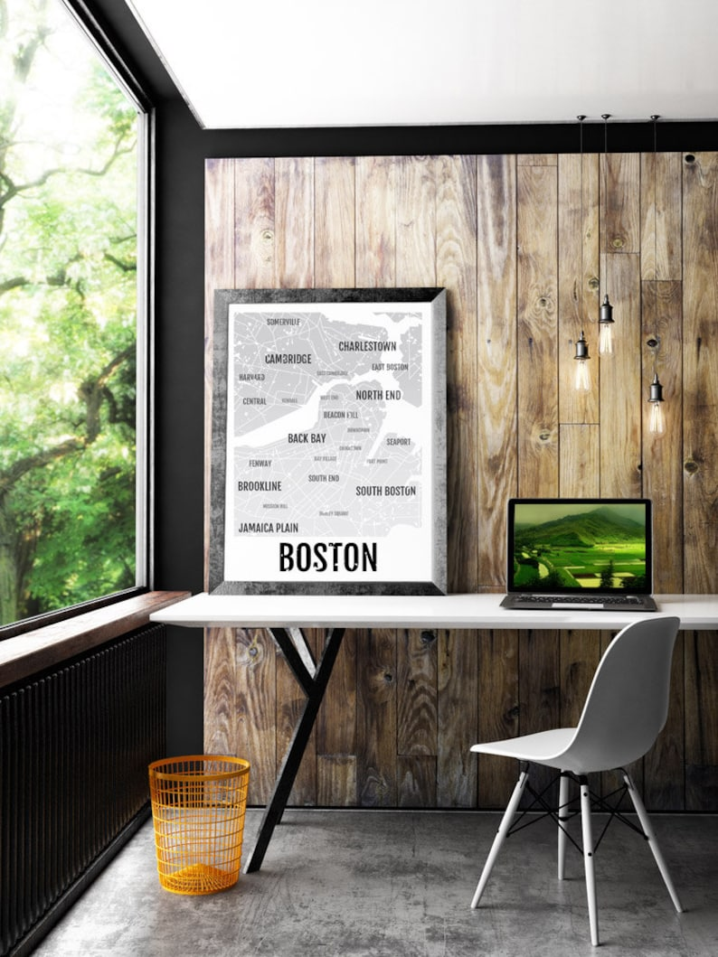 cf7158abc8e Boston Print Neighborhood City Map Subway Poster