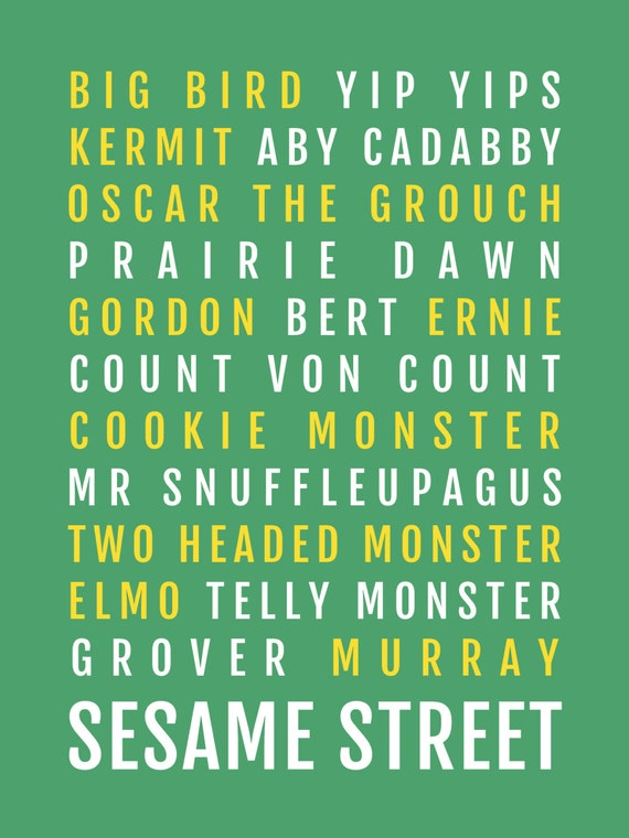 Sesame Street Personalized Print On Canvas Baby Gift• Elmo• Big Bird•Count• Bert