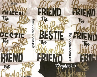 08a567a79 Queen, Squad Nickname Tee, Birthday Shirts, Squad Shirts, Bad and Boujie  Queen, l ***Any Color Design #3