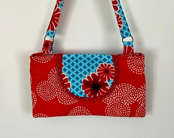 Small red evening pouch