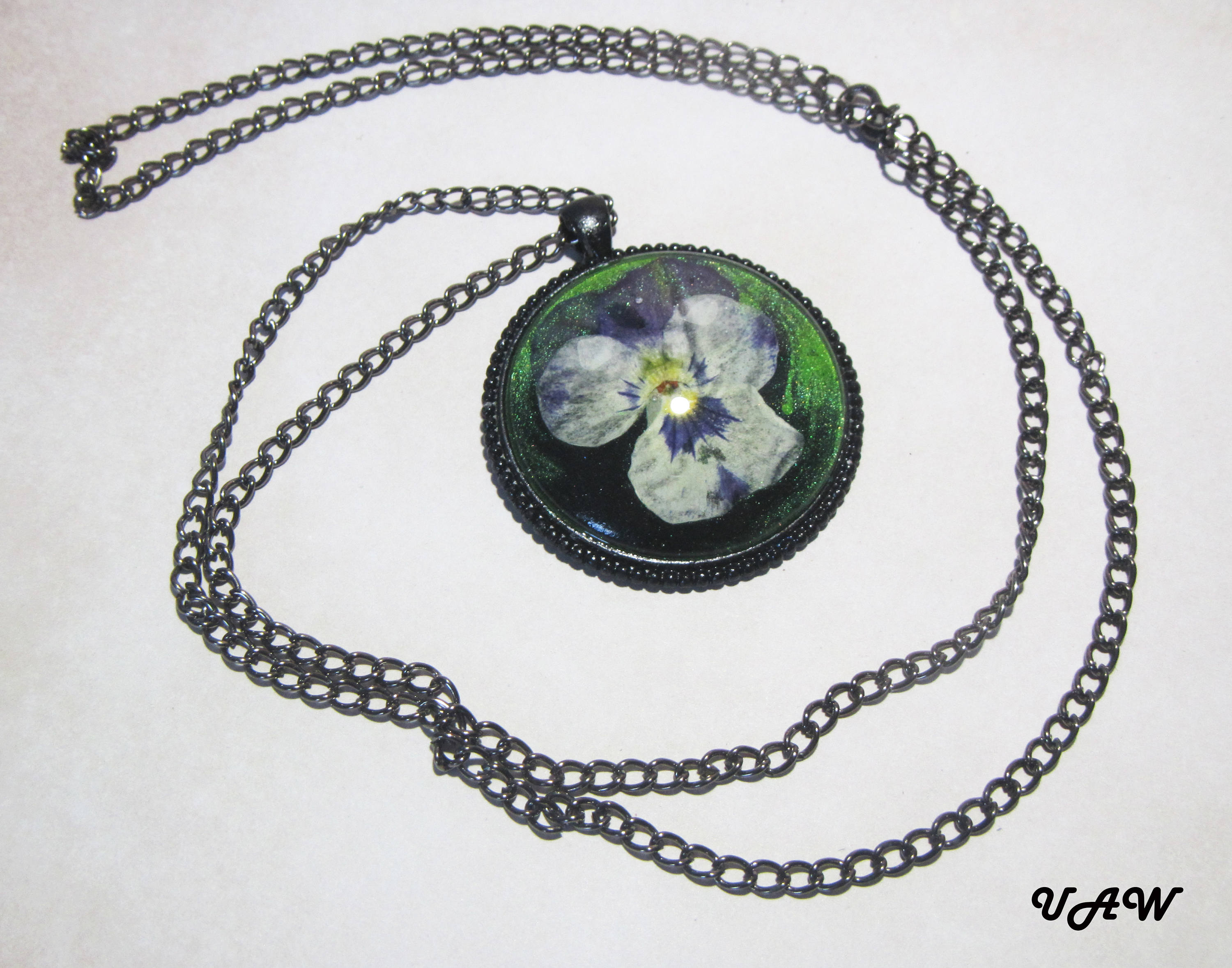 Natural Flowers Pendant Real Flower Necklace Flowers Pansies