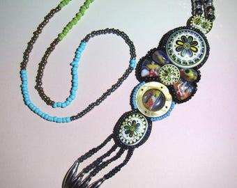 Beaded Gerdan Necklace, Long Necklace, Beaded cabochon Necklace, cabochon necklace, necklace ethnic, Boho long necklace, Folk long necklace
