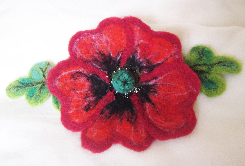 Felt Poppy Brooch Felted Flower Corsage Pin Brooch Felted Large