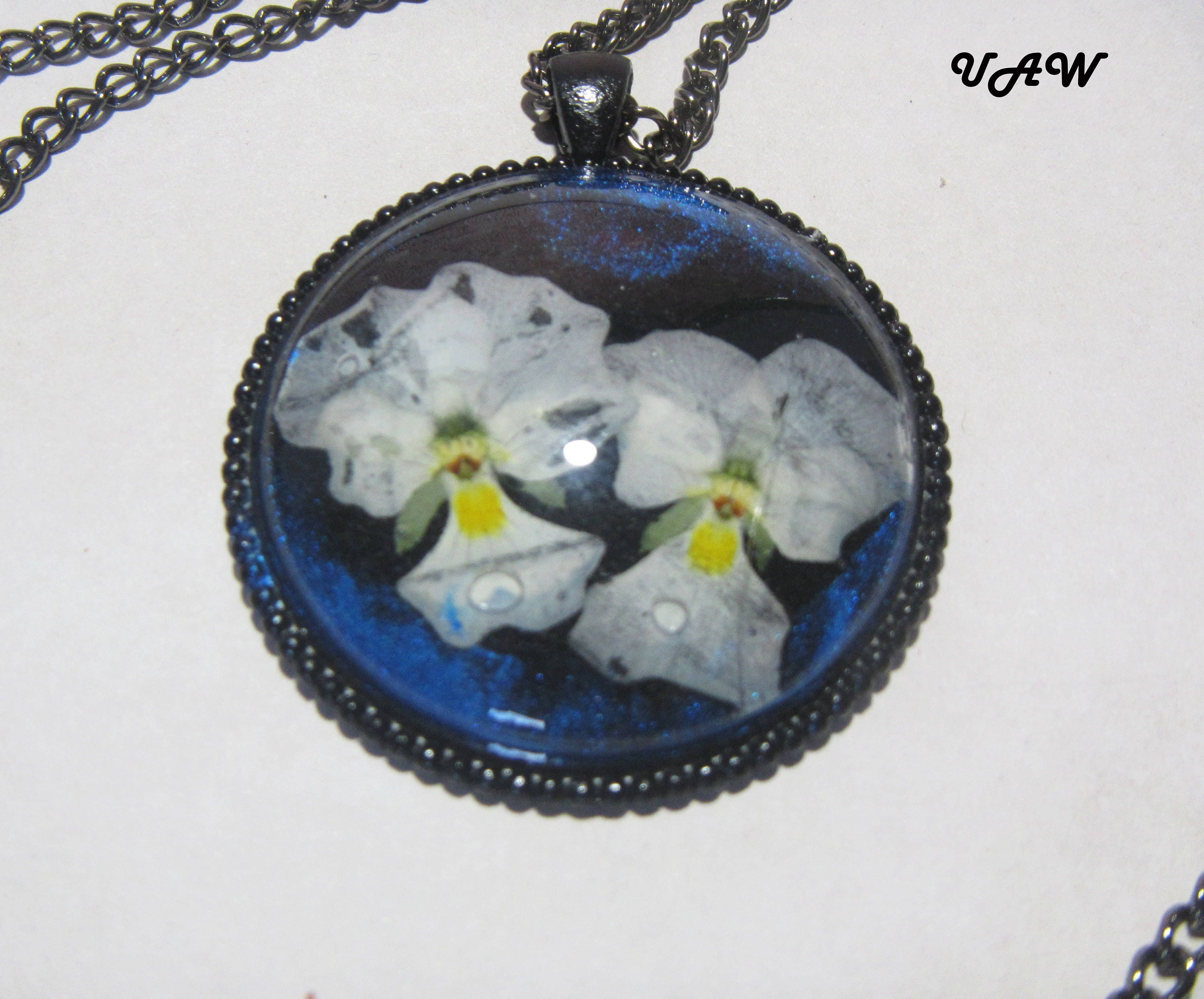 White Flowers Pendant Real Flower Necklace White Pansies Necklace
