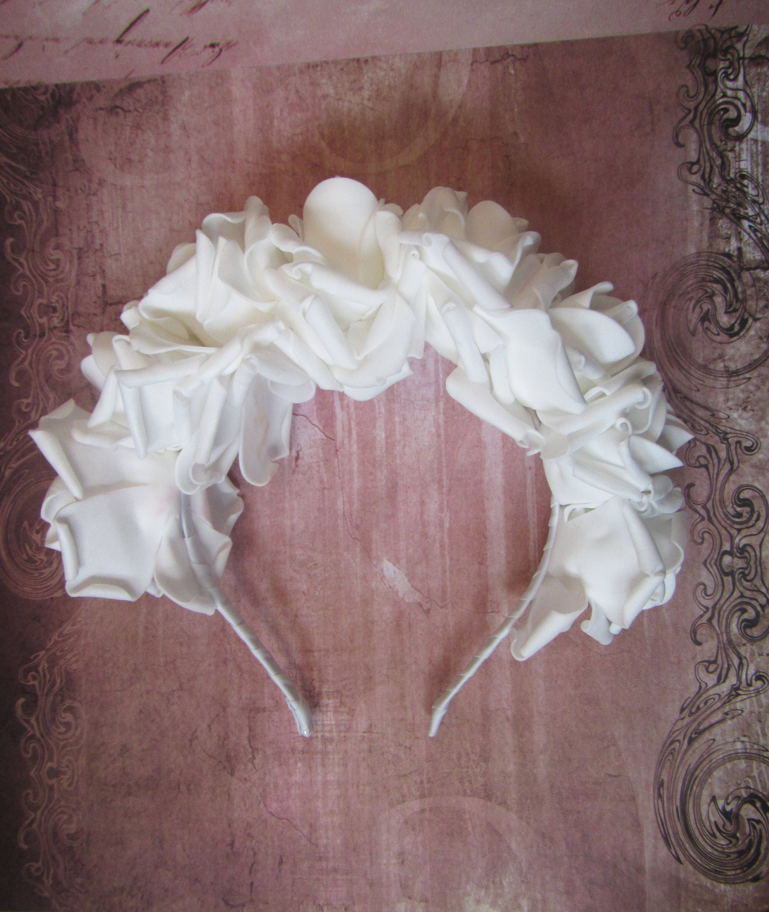 White Big Roses Headband Wedding Hair Hoop Hair Accessories White