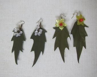 Spring Earrings, Spring leaves Earrings, leather leaves Earrings, leather Earrings with flowers, leather Earrings with berries,  leaves