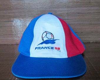 9b0fa364367 Vintage FRANCE 98 1998 World Championship Cup Football Soccer Baseball Snap  Back Cap Hat Cotton Blend Souvenir Accessory Used Condition