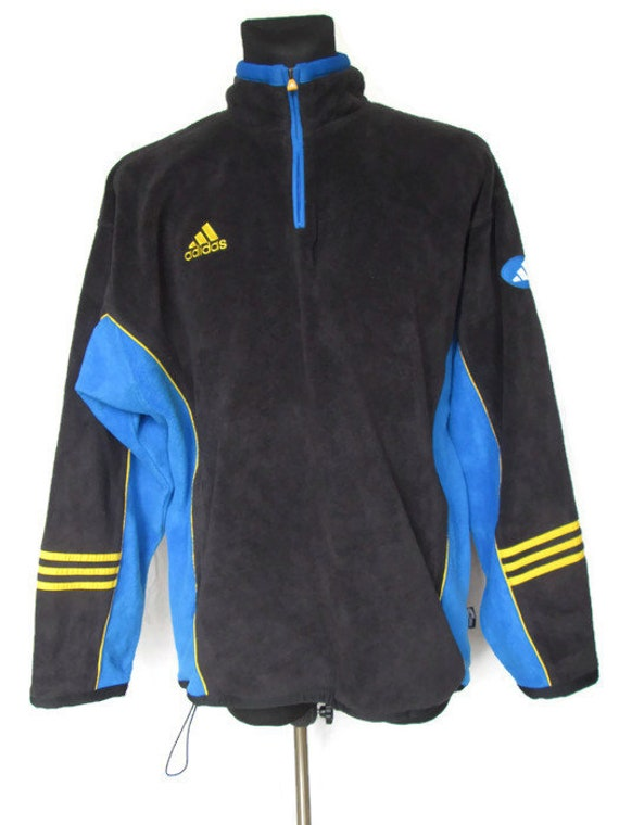 Vintage Adidas Mens Fleece Jacket Pullover Coat Tag Size M Have Pockets Polyester Used Condition Made in Hong Kong