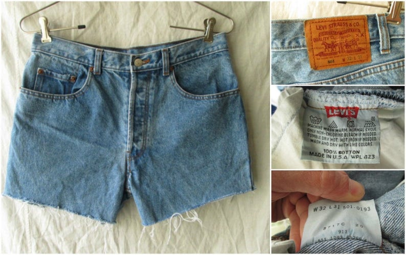 79183483 Vintage Levis Levi Strauss 501 Red Tab Mens Blue Jean Shorts | Etsy