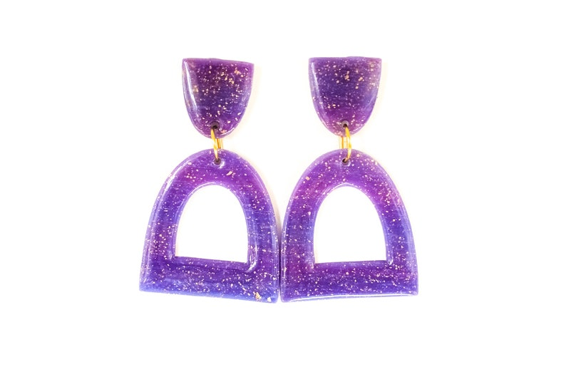 Unique Everyday Earrings For Women Half Oval Geometric Earrings Translucent Purple Polymer Clay Dangle Earrings With Gold Flakes