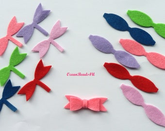 12 Felt Bows , Felt Bows Unassembled, Hair clip bows,Applique,  die cut, felt supplies, felt crafts, felt shapes