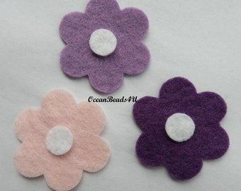 18 Felt Flowers, Felt Flowers Shape, Applique, Party supply, Filz Blumen