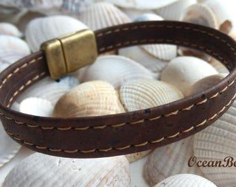 Brown Portuguese Cork  Bracelet E, Braun Kork Armband, Unisex Portuguese Cork Bracelet, Vegan Armband
