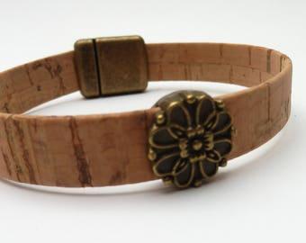 Natural Cork Bracelet with flower2, Unisex Portuguese Cork Bracelet, Unisex Portuguese Cork Bracelet, Kork Armband, Vegan Bracelet