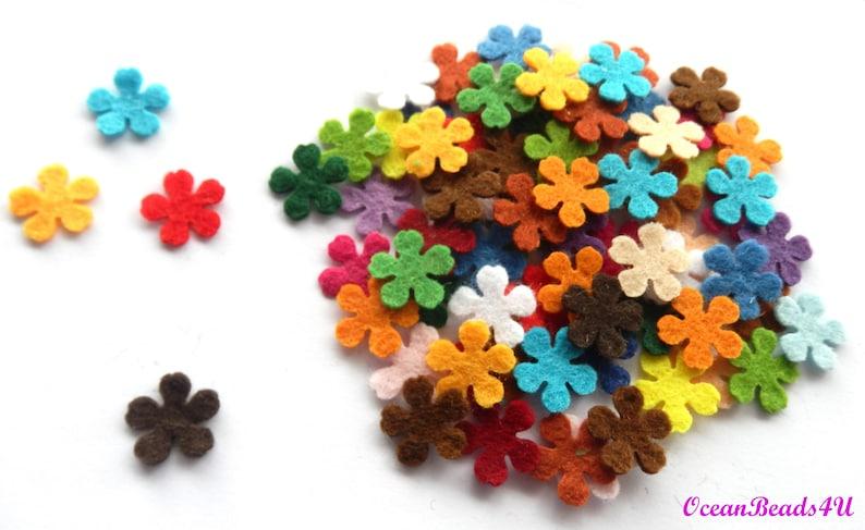 1.4 cm 1.2cm0.9 cm0.6cm Party Supply,Confetty Coloured Felt Flowers Die Cut Shapes 100 Mini Mix Felt Flower D Mini Mix Felt Flower