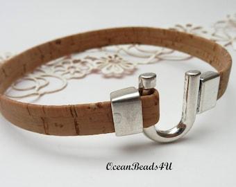 Natural Cork Bracelet E, Unisex Portuguese Cork Bracelet,  Cork Bracelet with U Clasp,  Vegan Jewelry , Kork Armband