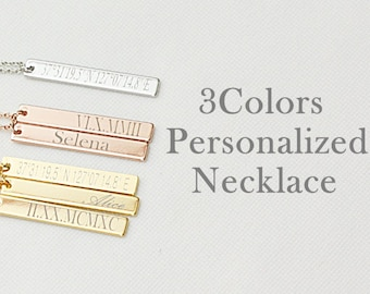 Vertical Bar Necklace, Custom Name Necklace, Name Bar Necklace, Coordinate Necklace, Roman Numeral Necklace, Personalized Necklace,Engraving