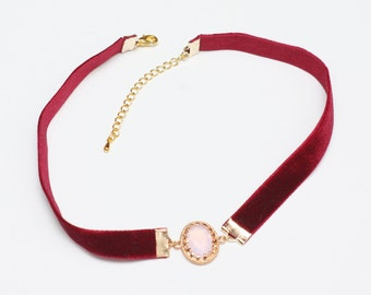 Pink Crystal Connector Choker, Red Velvet Choker, Womens Choker, Unique Choker, Jewelry Necklace, Fashion Jewelry, Girls Necklace