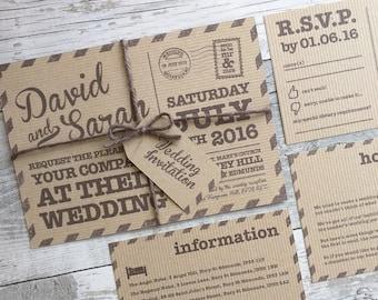 Postcard Wedding Invitations Etsy