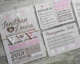Printable Wedding Invitation, Bunting & Wood Wedding Invitation, Bunting Wedding Invitation, Vintage Wedding Invitation, Digital File
