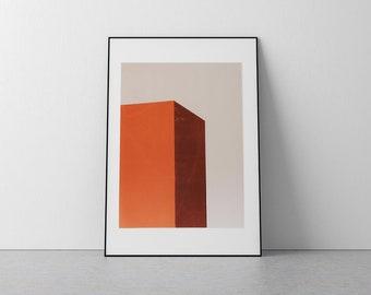 Minimal Orange Geometric Screen Print