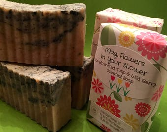 Wild Berry & Tulips Soap, Spring Soap, Tulip Soap, Wildberry Soap, Activated Charcoal Soap, Rose Hip Powder Soap, Beet Root Soap, Berry Soap
