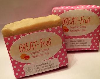Handcrafted Grapefruit Scented Soap, Vegan Soap, Himalayan Salt Soap, Moroccan Clay Soap, Grapefruit Soap, Grape fruit Soap, Pink Salt Soap