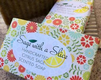 Sage and Citrus Soap, Citrus Sage Soap, Vegan Soap, Sage and Lemon Soap, Sage Soap, Turmeric Soap, Sage Citrus Soap, Vegan Soap, Clay Soap