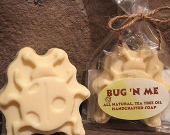 All Natural Tea Tree Oil Handcrafted Soap, Vegan Soap, Bug Repellent Soap, Tea Tree Soap, Bug Soap, Beetle Soap, Bug Shaped Soap, Bugs