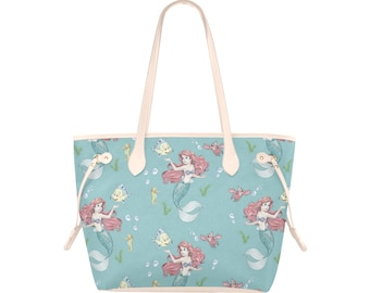 The Little MermaidArielChild ToteBook BagKindergarten Tote Preschool ToteParty Gift Bag with Decorative Piping  Embroidered