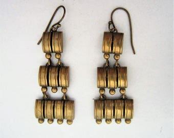 Vintage Art Deco brass egyptian revival earrings,1930