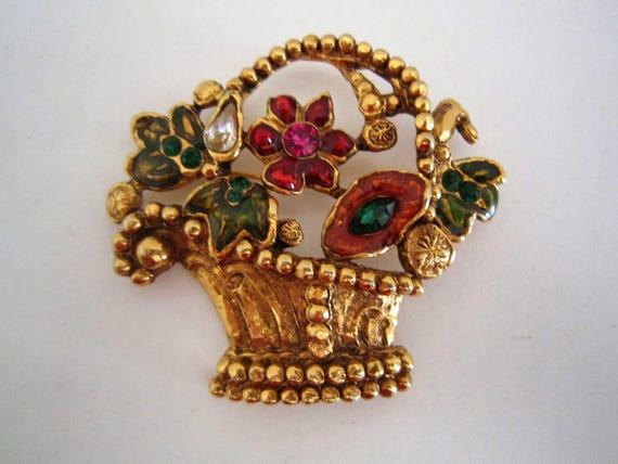 Vintage Emanuel Ungaro flowers basket brooch, 1980